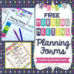 These planning forms and poster are perfect to plan your daily Morning Meeting!  Teacher forms are EDITABLE in colored and black and white versions.The poster can be displayed for your class to see!  No more asking which Greeting or Activity is planned for the day, or who's Sharing Day it is!