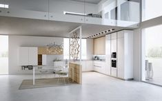 modèle de cuisine moderne en blanc neige et bois massif, revêtement de sol en béton ciré et tapis design