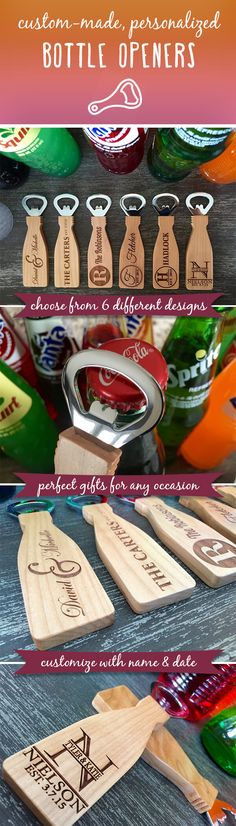 If you are looking for a beautiful, simple, personalized, thoughtful gift idea look no further! These incredible, personalized bottle openers make the perfect gift for any occasion.  Made from 100 percent maple, they are highly durable and will look fantastic displayed on any magnetized surface! Simply provide us with the names and dates desired and we will do the rest!