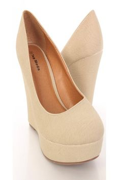 Nude shoes make your legs look miles long!! Plus, wedges are more comfortable!!