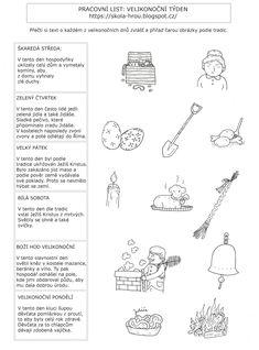 Velikonoční týden - tradice Aa School, School Clubs, Sudoku, Diy And Crafts, Crafts For Kids, Activities For Kids, Kindergarten, Calendar, Bullet Journal