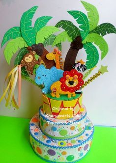 Jungle zoo birthday cake topper for children baby shower jungle