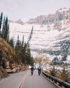 Biking up the Going to The Sun Road before it opens up to cars for the summer season.. It has always been a goal of mine to drive this road in the warm season and I've never been back on time for it.. In the end I'm pretty happy that my first time up here was on a bike with these two. #stayandwander