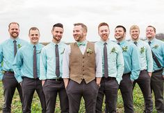 Groom and groomsmen attire. derrick wants a grey vest and blue bowtie. blue ties with white shirts for groomsmen and either grey or black pants Casual Groomsmen Attire, Groom And Groomsmen Style, Bridesmaids And Groomsmen, Groom Style, Groom Outfit, Mismatched Groomsmen, Groomsman Attire, Groom In Vest, Groomsmen In Vests