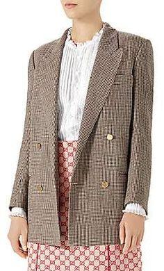 677557b6dd12 Gucci Women's Linen Jacket with Spiritismo Appliqué Metal Buttons, Metallic  Leather, Linen Jackets,