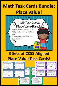 Task cards are EDUCATIONAL, FUN, INTERACTIVE, and VERSATILE! They can be used in so many different ways!   This BUNDLE includes 3 sets of 24 Common Core aligned cards! By purchasing the BUNDLE, you save over 15%!   This product includes: Three sets of 24 Math Task Cards Student answer sheets Teacher answer sheets Teacher At-a-Glance Page for each set   Skills covered include: *Place Value *Adding and Subtracting with Place Value *Standard Form, Word Form, and Expanded Form