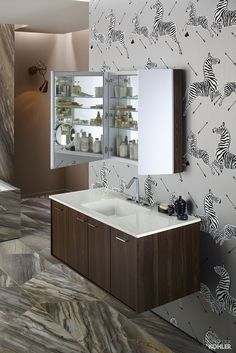 Contemporary Art Sites Perfect bathroom organization featuring Kohler Verdera Medicine Cabinet and Jute Vanity