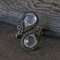 Wire Wrapped Clear Briolette Cocktail Ring: by TheDreamFaire