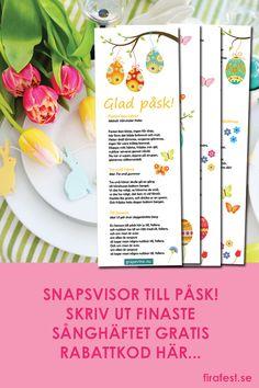 Skriv ut 12 roliga snapsvisor till påsk i ett fint sånghäfte! Gratis med rabattkod på firafest.se.  #snapsvisor #påsk #snapsvisorpåsk #sånghäfte #grapevine #firafest