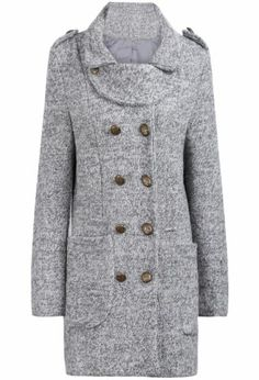 Grey Long Sleeve Epaulet Buttons Slim Coat