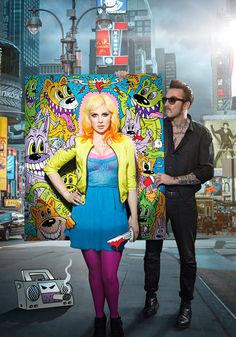 Victoria Liedtke and Ginger Wildheart, in a photographic and art blend by Dale May and Frank Kozik