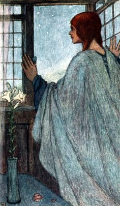"Pray but one prayer for me 'twixt thy closed lips … Illustration by Florence Harrison from ""Early poems of William Morris"" Walter Crane, Edmund Dulac, Ex Libris, Illustrator, Scrapbook Blog, Fairytale Art, Pre Raphaelite, William Morris, Fashion Pictures"