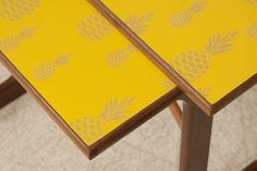 Yellow Pineapple Nest of Tables, Upcycled by Lucy Turner