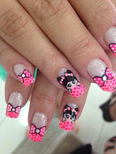 Uñas decoracion heiluz Funky Nail Art, Cute Nail Art, Beautiful Nail Art, Gorgeous Nails, Pretty Nails, Bow Nail Designs, Creative Nail Designs, Creative Nails, Little Girl Nails