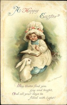 Clapsaddle Easter Girl Hat Reads Book to Rabbit Embossed c1910 Postcard