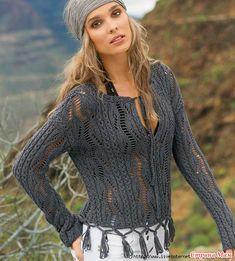 Ажурный пуловер с бахромой