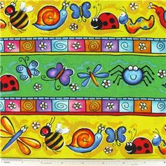 CCT3-16- Happy Bugs Striped Fabric | Shop Hobby Lobby Bulletin Board Background