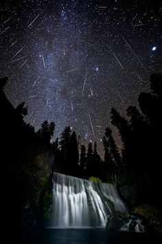 Multiple exposure: an entire night's Orionids near Mount Shasta, California, U.S.A. Photography Brad Goldpaint