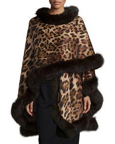Leopard-Print Cashmere Fur-Trim Cape, Gray by Sofia Cashmere at Neiman Marcus. Fur Trimmed Cape, Fur Cape, Cape Coat, Animal Print Outfits, Animal Print Fashion, Fashion Prints, Zapatos Animal Print, Vestidos Animal Print, Moda Animal Print