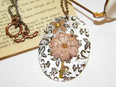 Oval Shell Floral Artwork Necklace by ArtLery on Etsy, $18.00