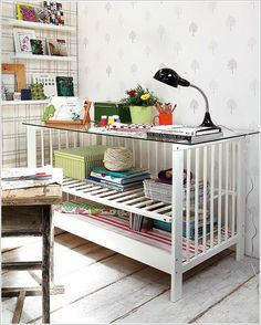 Amazing vintage desk -28 Inspirational Ways How to Repurpose Old Baby's Cribs