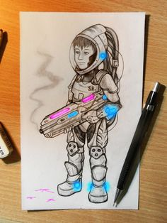 """""""Laser gun"""" Draw in pencils and ph by Flopy Valhala #character #design #illustration #drawing #comics #conceptart #flopy #valhala #kid #laser #gun #cyborg"""