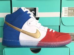 NIKE SB DUNK HIGH TRICO FRANCE RED WHITE BLUE GOLD 313171 674 Red White  Blue fd03a0e74