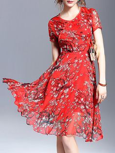 Red Casual Polyester Floral Mini Dress