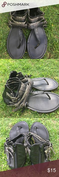 T-Strap Sandals Faux snake skin. Zipper in back for easy slip on. Excellent condition. Black, gray, and cream. Wet Seal Shoes Sandals