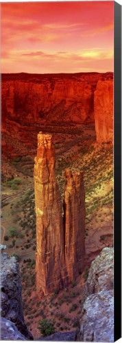 Great Art Now - Rock formations in a desert, Spider Rock, Canyon de Chelly National Monument, Arizona by Panoramic Images Canvas Wall Art, Black