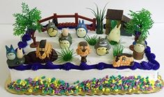 Totoro 16 Piece Birthday Cake Topper Set Featuring Chu Totoro, Chibi, Catbus and Themed Decorative Accessories - Cake Topper Includes All Items Shown Totoro