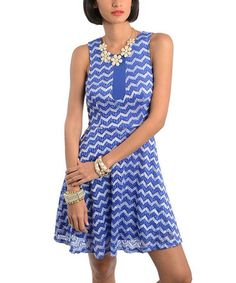 This Blue & White Zigzag Sleeveless Dress is perfect! #zulilyfinds