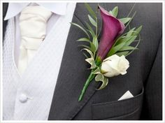 Olive, Mulberry and Gold Wedding Inspiration - purple calla lily boutonniere. Calla Lily Wedding Flowers, Calla Lily Bridal Bouquet, Calla Lily Boutonniere, Purple Calla Lilies, Groom Boutonniere, Wedding Flower Arrangements, Wedding Bouquets, Boutonnieres, Lilies Flowers