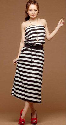 New Black Strapless Stripe Waist Sleeveless Tunic Cotton Blouson Mid-Calf Dress