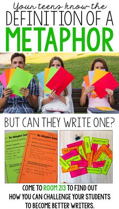 Lessons and activities for middle and high school English: do your students love a fun challenge? Give them one, and teach them how to write effective metaphors at the same time!
