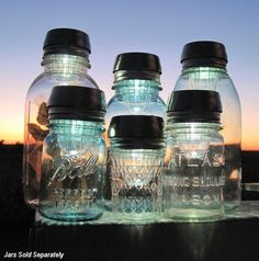solar blue mason jar lights
