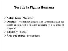 Test de la Figura Humana Autor: Karen Machover Objetivo: Visualizar aspectos de la personalidad del sujeto en relación ... Psp, Math Equations, Ideas, Goal, Body Image, Sign Language, Self Concept, Personality, Therapy