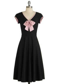 All That and Demure Dress by Stop Staring! - Long, Black, Pink, Solid, Bows, Party, A-line, Cap Sleeves, 50s, V Neck, Pinup