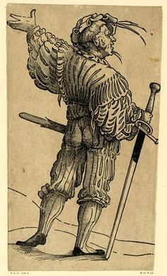 A Landsknecht seen from behind with his left arm raised; WL figure, face in profile to right, holding a sword in his right hand.  Woodcut