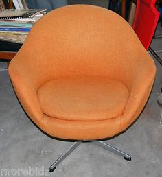 """Vintage Mid Century Modern Overman """"Pod"""" Swivel Chair Sweden Free Shipping 