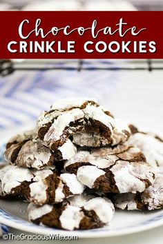 Chewy fudgy Chocolate Crinkle Cookies are pretty and easy to make. They& rich and decadent and are perfect for Christmas baking and cookie exchanges! Cocoa Cookies, Chocolate Crinkle Cookies, Chocolate Crinkles, Chocolate Biscuits, Baking Recipes, Cookie Recipes, Dessert Recipes, Bar Recipes, Family Recipes