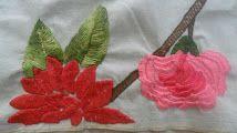 Flores em ponto folha, caseado, ponto corrente...