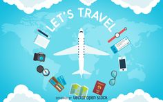 Flat travel background design featuring a plane with plenty of elements such as passports, maps, and more. This design also says let's travel.