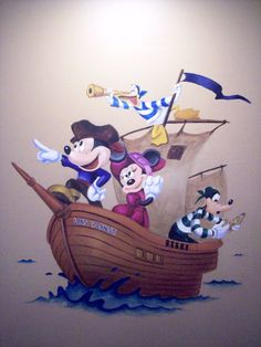 Disney Pirates bathroom mural