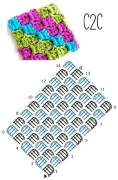 9 Tips for knitting – By Zazok Crochet Stitches Free, Crochet Symbols, Crochet Square Patterns, C2c Crochet, Crochet Motifs, Crochet Cushions, Crochet Diagram, Crochet Blanket Patterns, Free Crochet