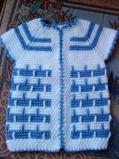 Hem kız çocuklarımıza hem erke Baby Knitting Patterns, Knitting Stitches, Crochet For Kids, Crochet Baby, Tunisian Crochet, Baby Sweaters, Sweater Coats, Baby Kids, Diy And Crafts