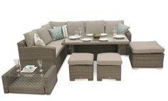 This extremely versatile corner set can be used either as a dining set or as a modular corner sofa set with a coffee table. Corner Sofa Dining Set, Rattan Corner Sofa, Modular Corner Sofa, Dining Room, Rattan Furniture Set, Outdoor Furniture Sets, Outdoor Decor, Luxury, Chelsea
