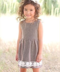 Loving this Brown Herringbone Dress - Toddler & Girls on #zulily! #zulilyfinds
