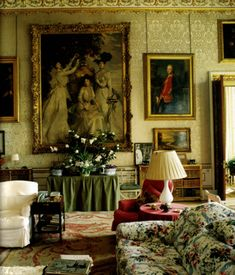 A drawing room at Chatsworth (1980s).