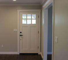 Wall Color matched at Sherwin Williams, the color is called Designer Grey. Perfect soft shade of grey with no funky undertones (paint code pinned in separate link)  {Interior Door: Elephant Skin by Behr} {Trim is Swiss Coffee by Kelly Moore, color matched at Sherwin Williams}